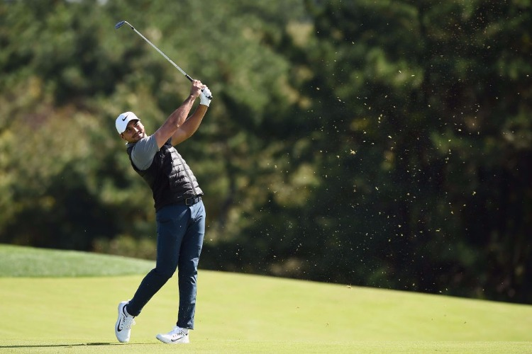 JASON DAY of Australia plays in the second round of the CJ Cup at Nine Bridges in Jeju, South Korea.