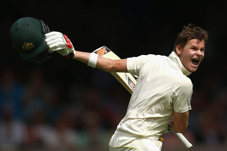 STEVE SMITH of Australia celebrates after reaching his double century of the 2nd Investec Ashes Test match at Lord's Cricket Ground.