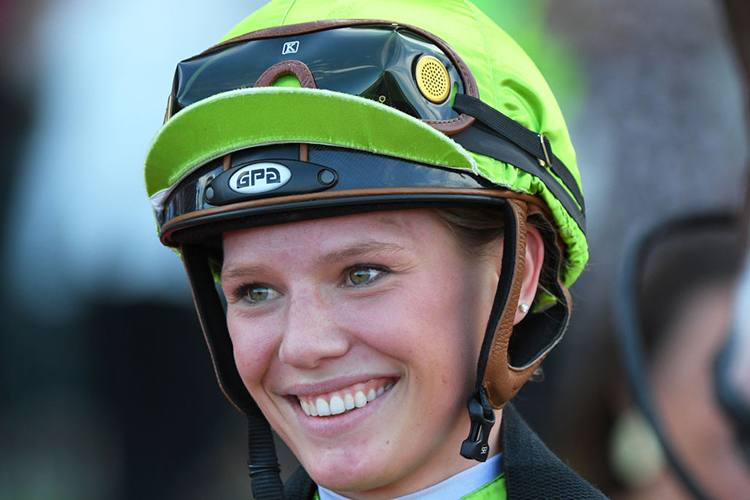Jockey : Stephanie Thornton after riding Our Luca to win Independent Turf Services Handicap during Melbourne Racing at Moonee Valley in Melbourne, Australia.