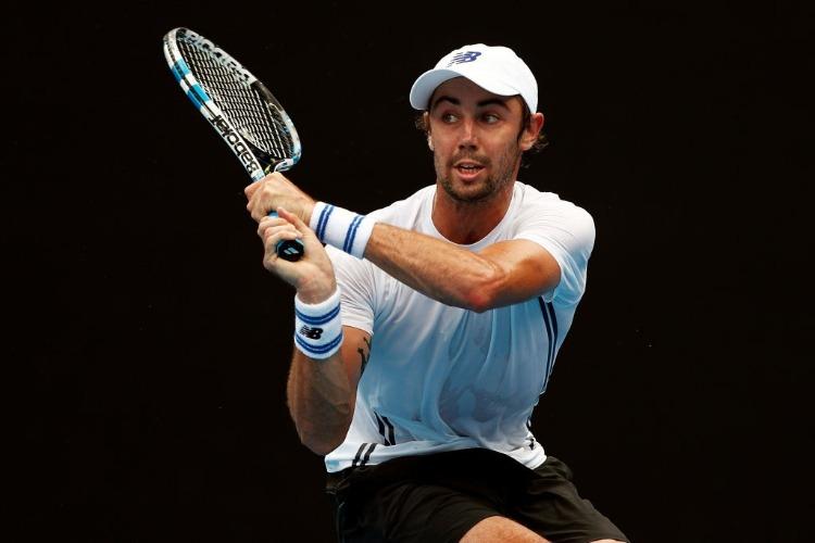 JORDAN THOMPSON of Australia plays a backhand during the ydney International at Sydney Olympic Park Tennis Centre in Australia.