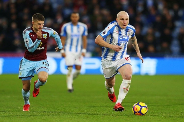 AARON MOOY of Huddersfield Town during the Premier League match between Huddersfield Town and Burnley at John Smith's Stadium in Huddersfield, England.