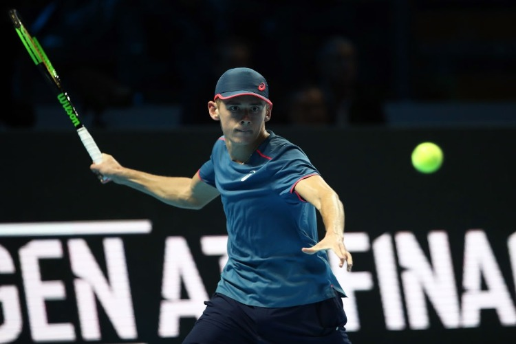 ALEX DE MINAUR of Australia in action against Taylor Fritz of USA in the group stages during the Next Gen ATP Finals at Fiera Milano Rho in Milan, Italy.