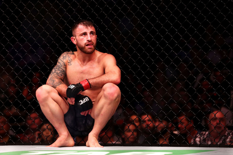 ALEXANDER VOLKANOVSKI of Australia shows his frustration after defeating Shane Young of New Zealand during the UFC Fight Night at Qudos Bank Arena in Sydney, Australia.
