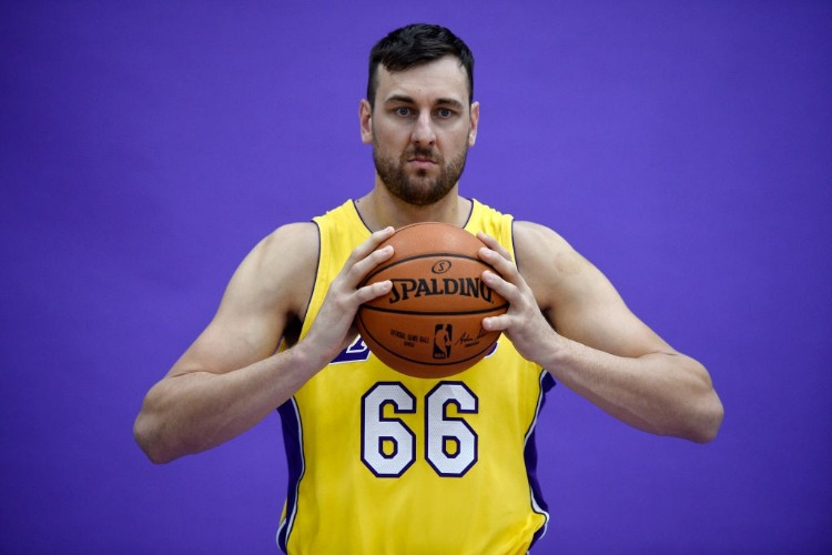 ANDREW BOGUT #66 of the Los Angeles Lakers poses during media day in El Segundo, California.
