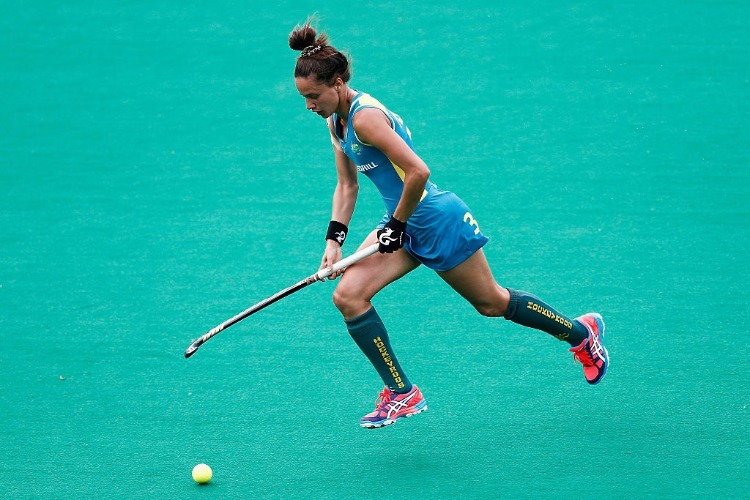 BROOKE PERIS of Australia in action during the Fintro Hockey World League Semi-Final match between Netherlands and Australia held at KHC Dragons GS in Brasschaat, Belgium.