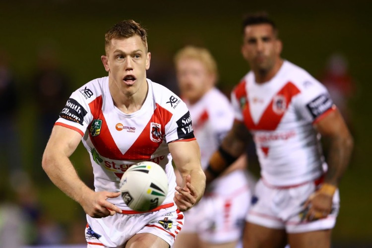 CAMERON MCINNES of the Dragons passes during the NRL match between the St George Illawarra Dragons and the Parramatta Eels at WIN Stadium in Wollongong, Australia.