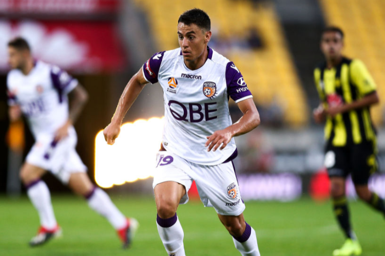 CHRIS IKONOMIDIS of the Glory in action during the A-League match between the Wellington Phoenix and the Perth Glory at Westpac Stadium in Wellington, New Zealand.