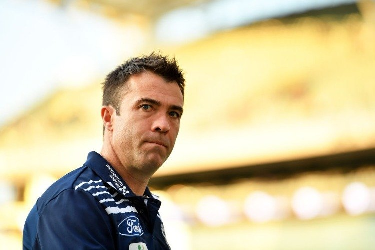 Cats head coach CHRIS SCOTT walks from the field prior to the First AFL Preliminary Final match between the Adelaide Crows and the Geelong Cats at Adelaide Oval in Adelaide, Australia.