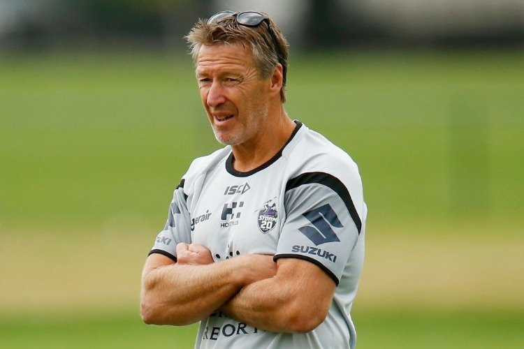 Coach of the Storm CRAIG BELLAMY looks on during a Melbourne Storm Training Session at Gosch's Paddock in Melbourne, Australia.