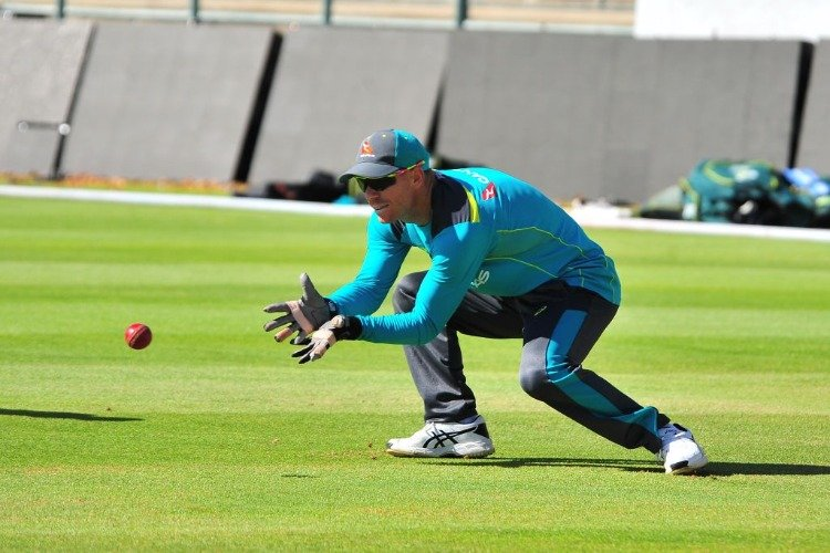 DAVID WARNER during the Australian national mens cricket team training session at PPC Newlands Stadium in Cape Town, South Africa.