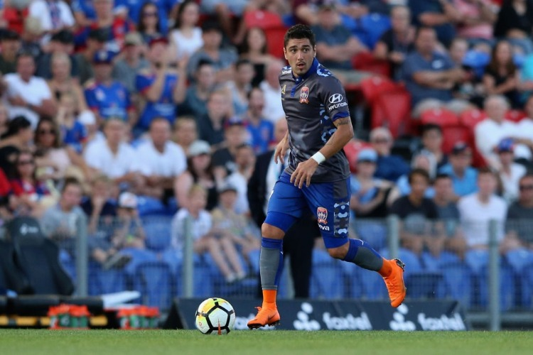 DIMITRI PETRATOS of the Jets in action during the A-League match between the Newcastle Jets and Sydney FC at McDonald Jones Stadium in Newcastle, Australia.