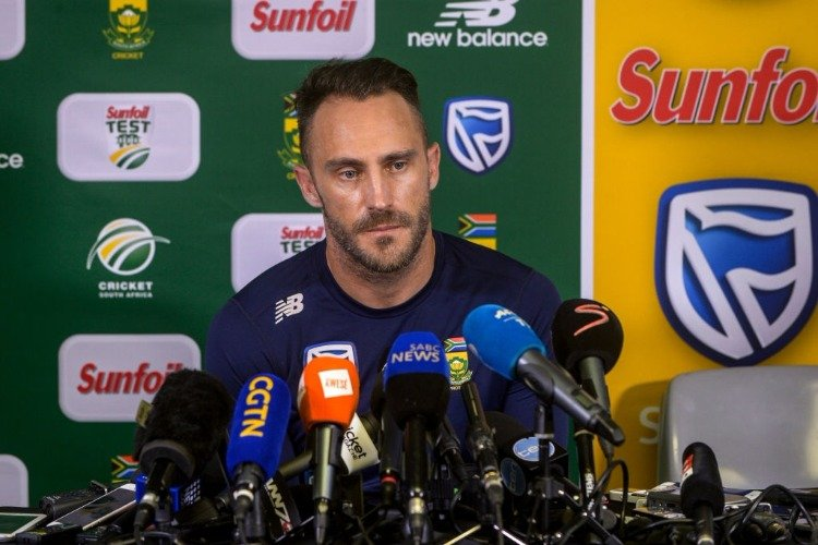 Captain FAF DU PLESSIS takes questions from the media during the South Africa cricket press conference at Bidvest Wanderers Stadium in Johannesburg, South Africa.
