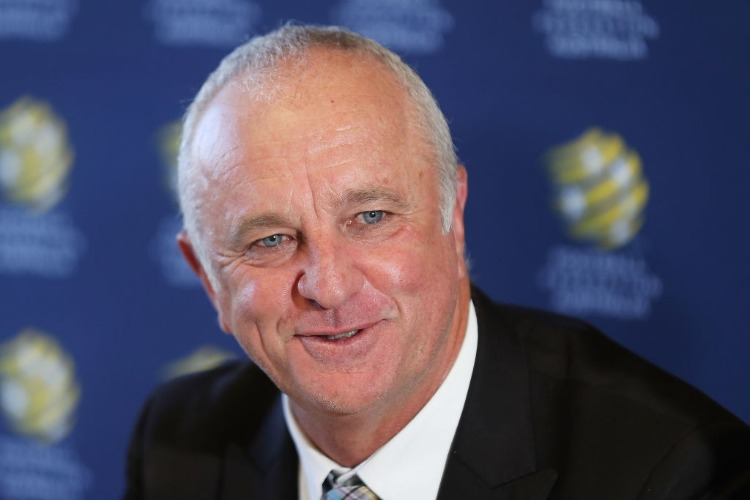GRAHAM ARNOLD speaks to the media during a press conference announcing the succession plan for long term appointment of head Socceroos coach, at FFA Headquarters in Sydney, Australia.