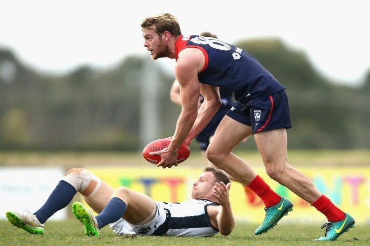 JACK WATTS of Casey runs during the VFL match between Casey and the Northern Blues at Casey Fields in Melbourne, Australia.
