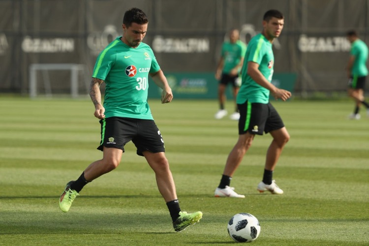 JAMIE MACLAREN of Australia controls the ball during the Australian Socceroos Training Session at the Gloria Football Club in Antalya, Turkey.