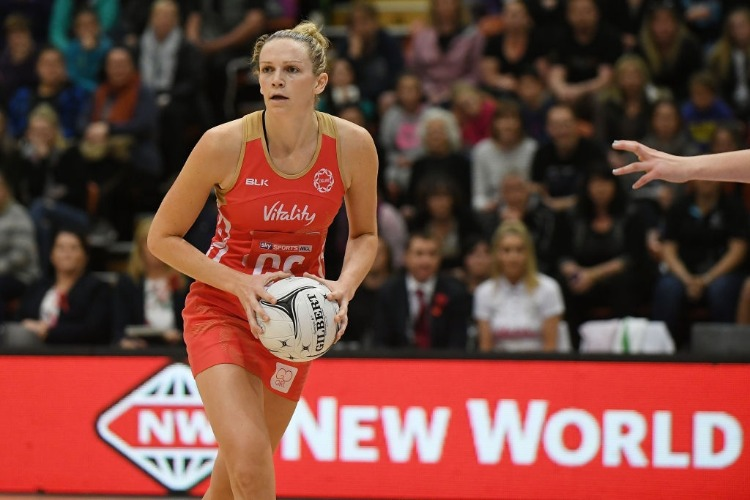 JOANNE HARTEN of England during the International Test match between the New Zealand Silver Ferns and the England Roses at Pettigrew Green Arena in Napier, New Zealand.