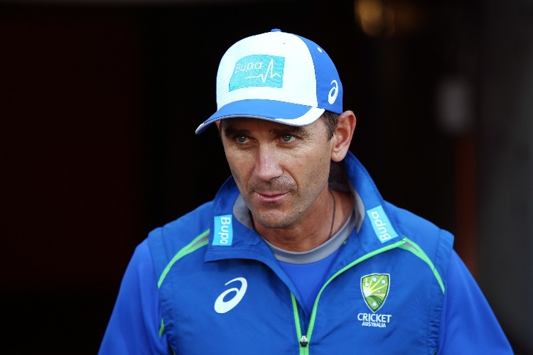 Head coach JUSTIN LANGER looks on during the International Twenty20 match between Australia and Sri Lanka at Adelaide Oval in Adelaide, Australia.
