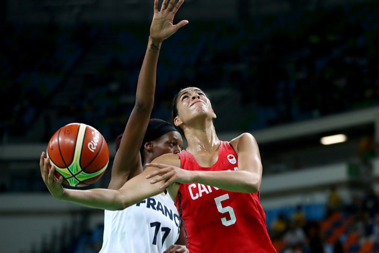KIA NURSE of Canada looks to shoot during the Women's Quarterfinal match between France and Canada at Carioca Arena in Rio de Janeiro, Brazil.
