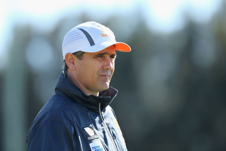 Giants coach LEON CAMERON looks on during a Greater Western Sydney Giants AFL training session at Sydney Olympic Park in Sydney, Australia.