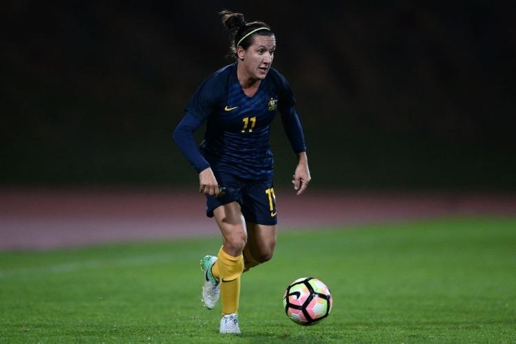 LISA DE VANNA of Australia in action during the Women's Algarve Cup Tournament match between Australia and China at Estadio Municipal de Albufeira in Albufeira, Portugal.