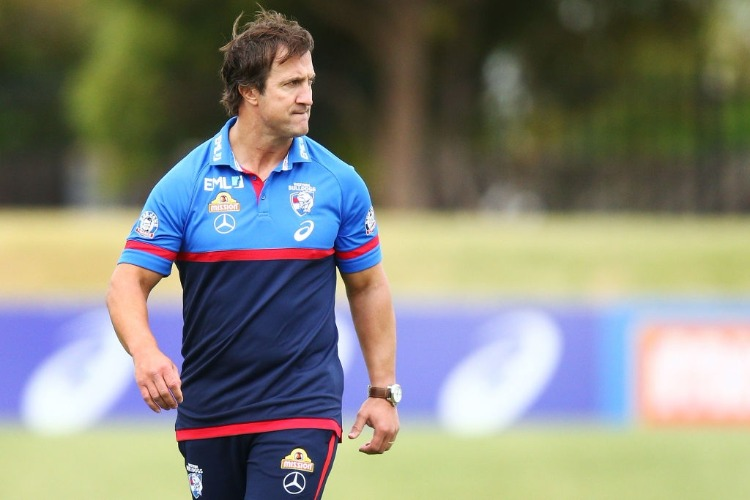 Bulldogs coach LUKE BEVERIDGE looks on during a Western Bulldogs AFL training session at Whitten Oval in Melbourne, Australia.
