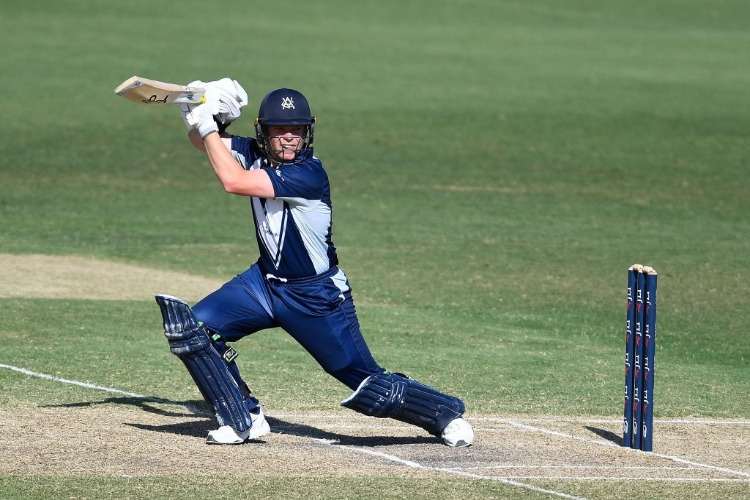 MARCUS HARRIS of Victoria bats during the JLT One Day Cup match between Tasmania and Victoria at Riverway Stadium in Townsville, Australia.