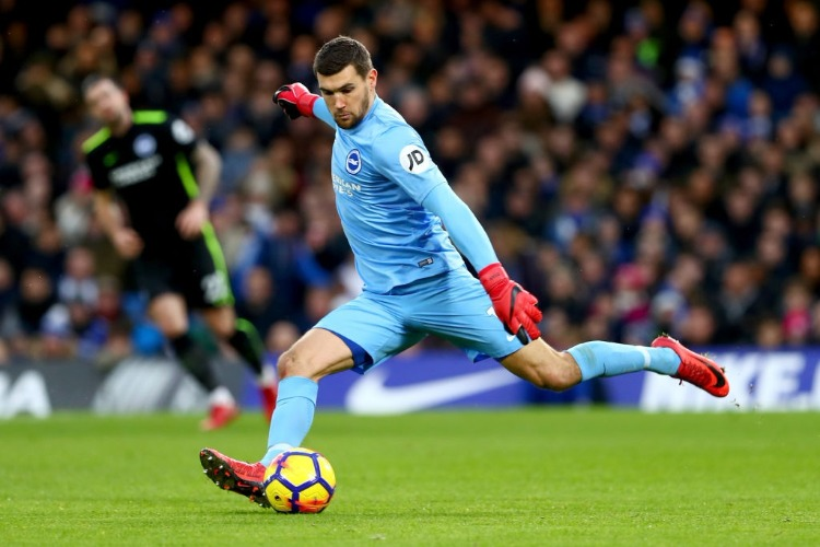 MAT RYAN of Brighton and Hove Albion during the Premier League match between Chelsea and Brighton and Hove Albion at Stamford Bridge in London, England.