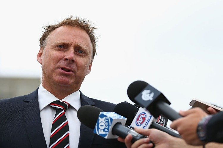 St Kilda CEO MATT FINNIS speaks to the media during an AFL media opportunity at the Shrine of Rememberance in Melbourne, Australia.