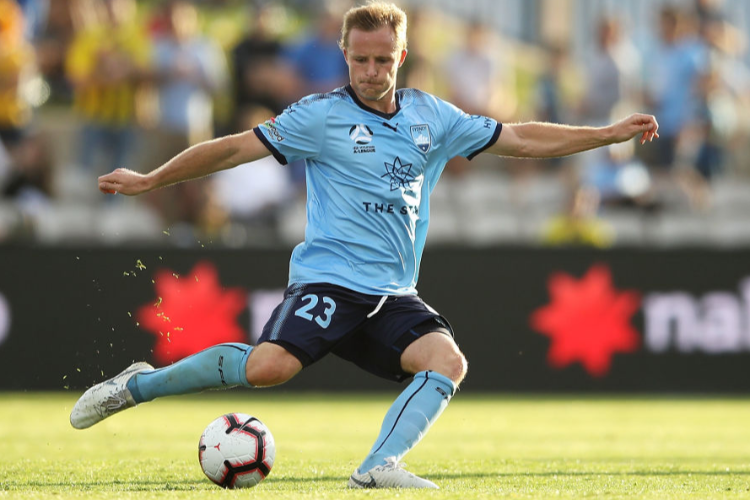 RHYAN GRANT of Sydney FC passes during the A-League match between Sydney FC and the Wellington Phoenix at WIN Jubilee Stadium in Sydney, Australia.