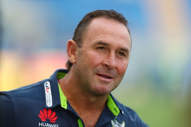 Raiders coach RICKY STUART looks on before the NRL match between the Gold Coast Titans and the Canberra Raiders at Cbus Super Stadium in Gold Coast, Australia.