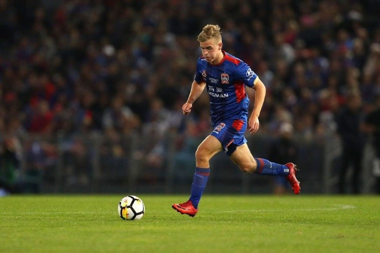 RILEY MCGREE of the Jets in action during the 2018 A-League Grand Final match between the Newcastle Jets and the Melbourne Victory at McDonald Jones Stadium in Newcastle, Australia.