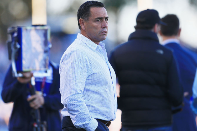 Sharks Coach SHANE FLANAGAN looks on before the NRL match between the Cronulla Sharks and the Canterbury Bulldogs at Southern Cross Group Stadium in Sydney, Australia.