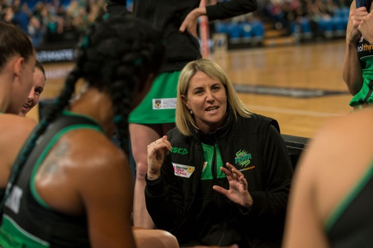 STACEY MARINKOVICH Head Coach of the Fever talks to her team at Perth Arena in Perth, Australia.