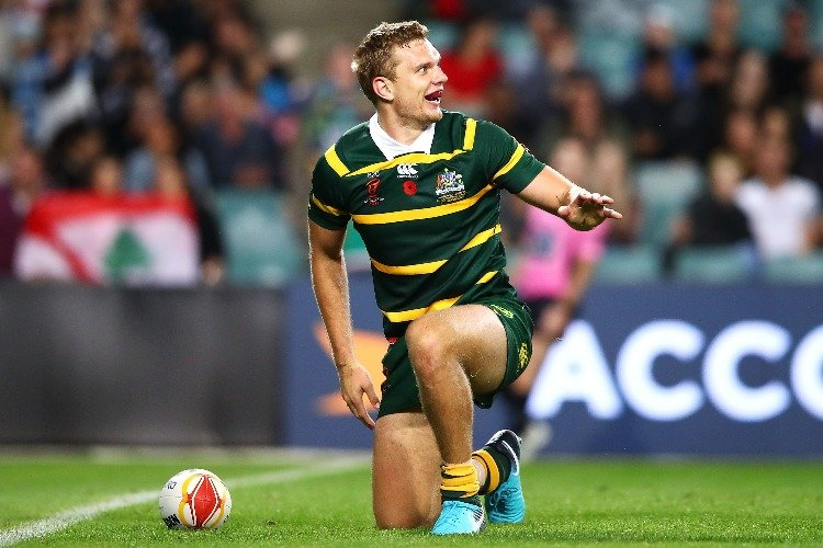 TOM TRBOJEVIC of Australia celebrates scoring a try during the 2017 Rugby League World Cup match between Australia and Lebanon at Allianz Stadium in Sydney, Australia.
