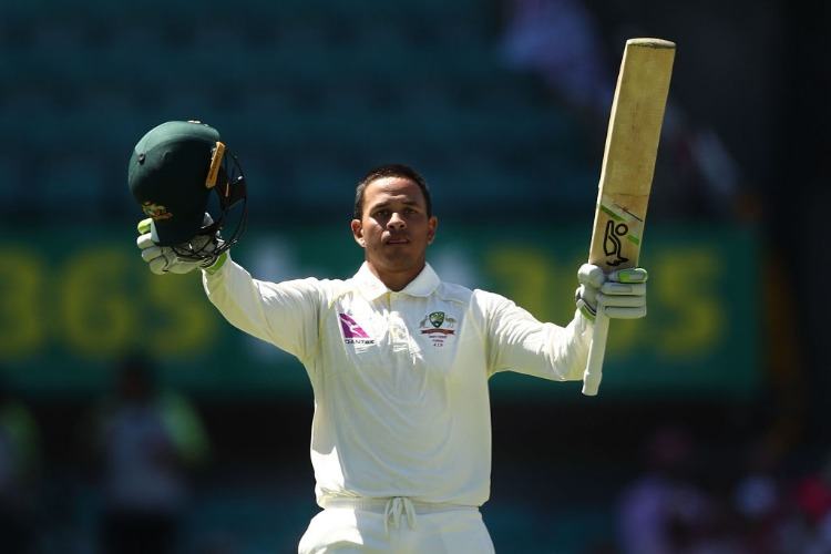 USMAN KHAWAJA of Australia celebrates after reaching his century during the Fifth Test match in the 2017/18 Ashes Series between Australia and England at SCG in Sydney, Australia.
