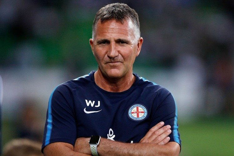 Coach WARREN JOYCE of Melbourne City looks on before the League match between Melbourne City FC and Melbourne Victory at AAMI Park in Melbourne, Australia.