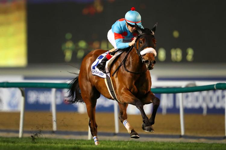 ALMOND EYE winning the Dubai Turf at Meydan in Dubai, United Arab Emirates.