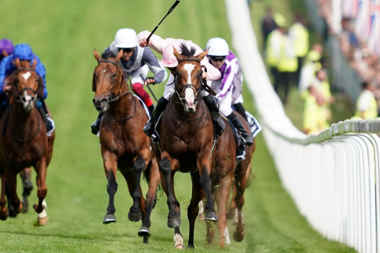 ANTHONY VAN DYCK winning the Investec Derby Stakes (Group 1) in Epsom, England.