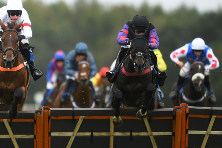 BACK ON THE LASH winning the Join Racing TV Now Conditional Jockeys' Handicap Hurdle in Exeter, England.