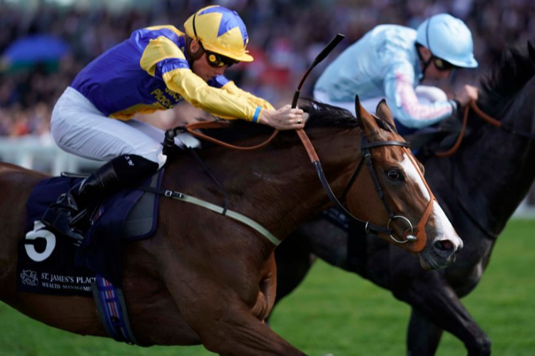 BUBBLE AND SQUEAK winning the St. James's Place Wealth Management British EBF Premier Fillies' Handicap (Str) in Ascot, England.