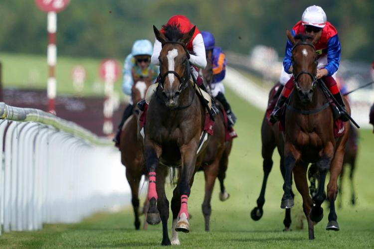 DEIRDRE winning the Qatar Nassau Stakes at Goodwood in Chichester, England.