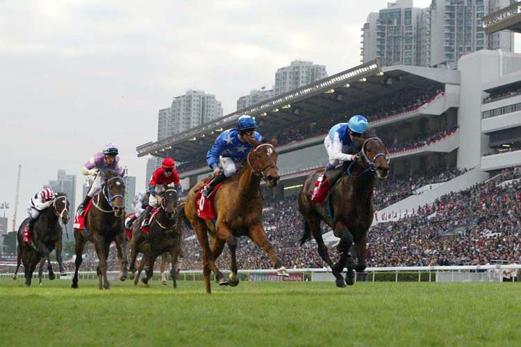Pride (blue with white stars) wins the 2006 Hong Kong Cup.