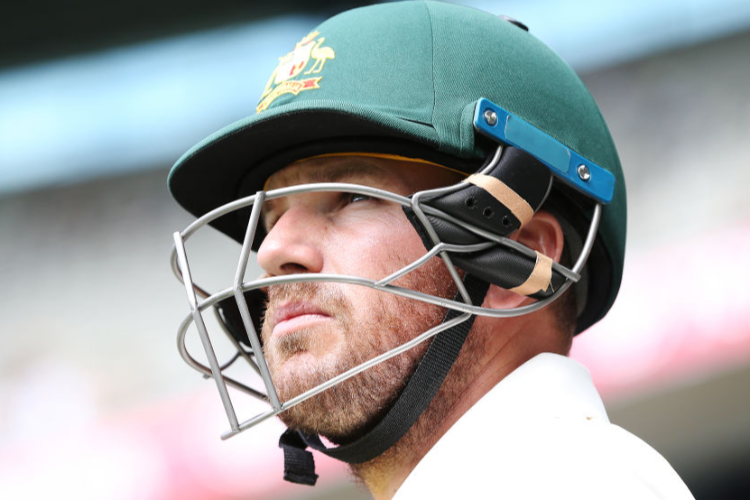 AARON FINCH of Australia looks ahead during the Third Test match in the series between Australia and India at MCG in Melbourne, Australia.