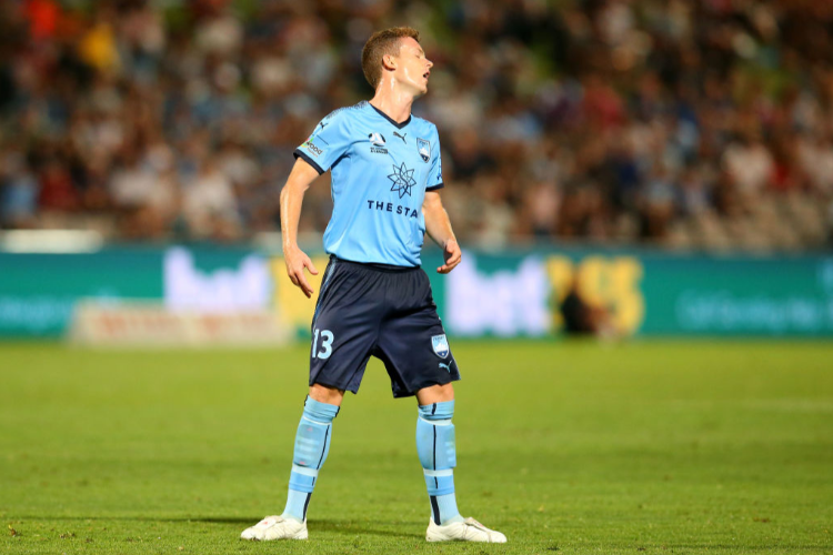 BRANDON O'NEILL of Sydney reacts during the round 10 A-League match between Sydney FC and the Brisbane Roar at WIN Jubilee Stadium in Sydney, Australia.