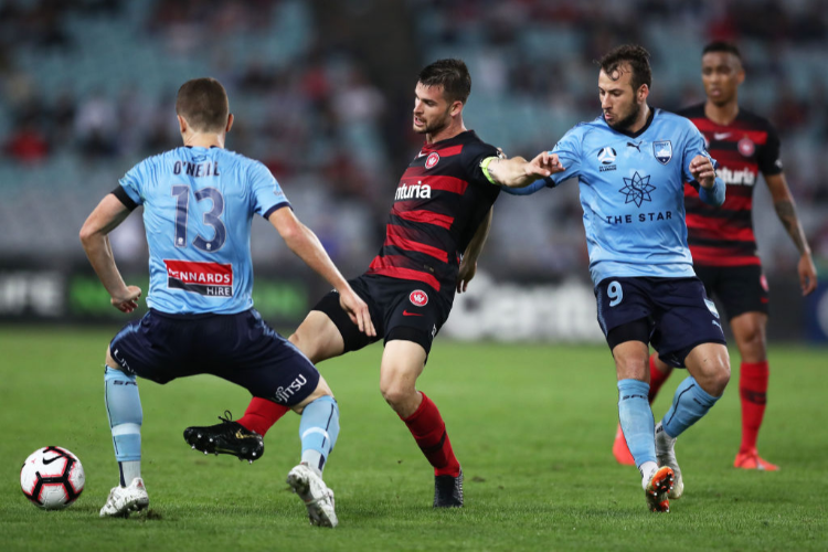 Sydney FC players in defence.