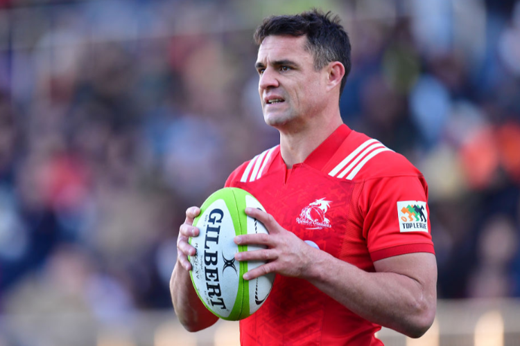 DAN CARTER of Kolebco Steelers is seen during the Top League tournament final between Kobelco Steelers and Suntory Sungoliath at Prince Chichibu Memorial Ground in Tokyo, Japan.