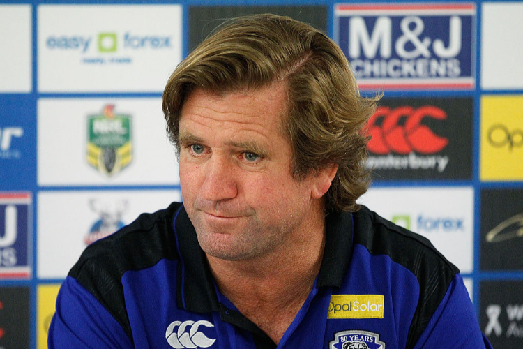Bulldogs Coach, DES HASLER speaks to the media following the NRL match between the Canterbury Bulldogs and the Parramatta Eels at ANZ Stadium in Sydney, Australia.