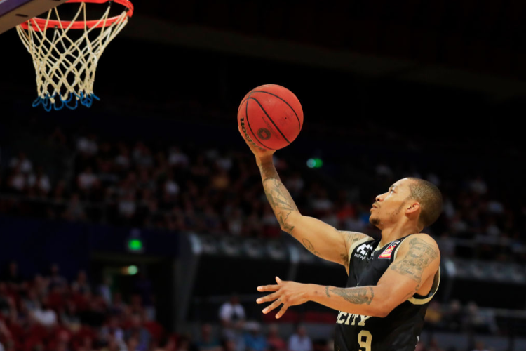 JEROME RANDLE of the Kings goes up for a basket during the NBL match between the Sydney Kings and the Brisbane Bullets at Qudos Bank Arena on in Sydney, Australia.