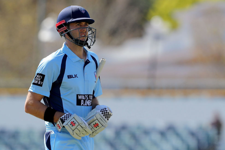 KURTIS PATTERSON of NSW walks off the ground after his wicket during the JLT Cup match between South Australia and New South Wales in Perth, Australia.