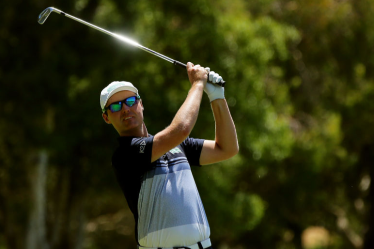 MATTHEW GRIFFIN of Australia hits an approach shot during the ISPS Handa World Super 6 Perth at Lake Karrinyup Country Club in Perth, Australia.